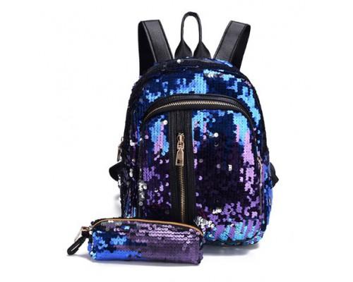 Рюкзак с пайетками Sequins blue + кошелек